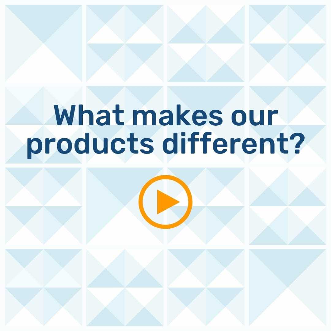 """Text """"What makes our products different?"""" on a geometric background with an orange play button"""
