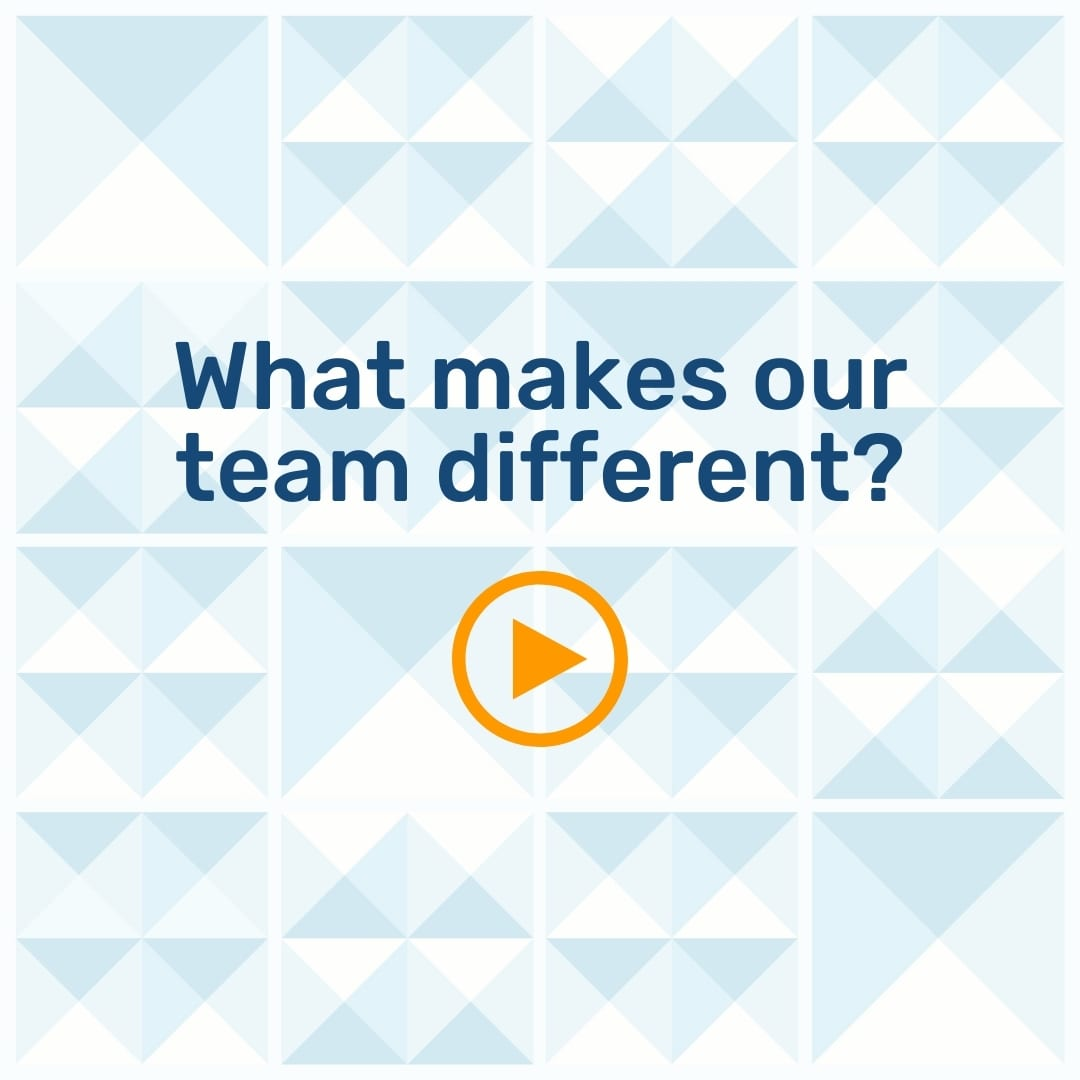 """Text """"What makes our team different?"""" on a geometric background with an orange play button"""