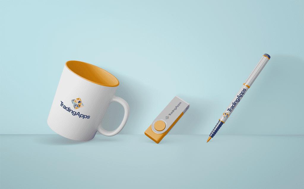 Trading apps branded mug, USB stick and pen