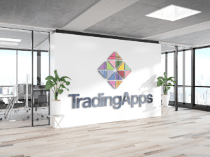 Trading Apps logo on a wall